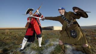 Re-enactors on Culloden Battlefield