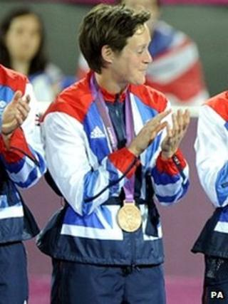 Hannah Macleod with her bronze medal at the London 2012 presentation ceremony