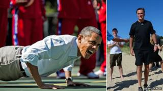 Barack Obama doing a push up (l) and Mitt Romney in shorts on a beach (r)