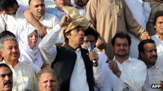 File picture of Pakistan's Imran Khan at a peace rally in Tank, Pakistan, on taken on 7 October 2012