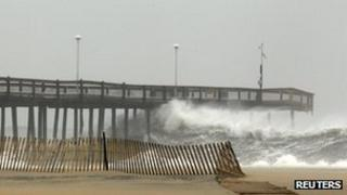 Waves hitting the pier at Ocean City, Maryland