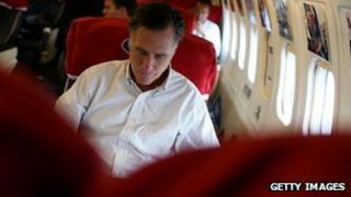 Mitt Romney, en route to Illinois, 29 Oct