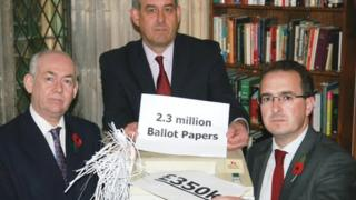 L-R: Labour MPs Wayne David, David Hanson and Owen Smith