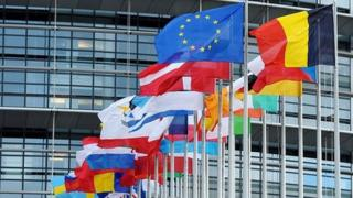 EU states' flags outside European Parliament, Strasbourg