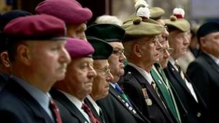 War veterans were among the crowd observing the silence to mark Armistice