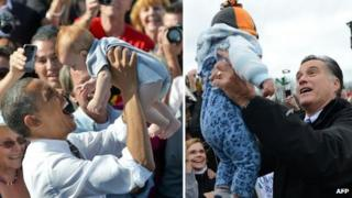 Barack Obama (L) and Mitt Romney (R) holding babies at campaign events
