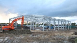 Building work on the Jet Age Museum at Gloucestershire Airport