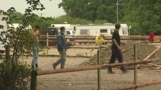 Building work at a travellers site in Newent