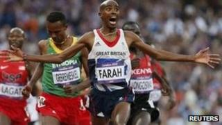 Mo Farah wins the 5000m final at the London 2012 Olympic Games