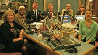 (Left to right) Ann Barnes, Dai Liyanage, Craig Mackinlay, Steve Uncles, Piers Wauchope and Harriet Yeo with BBC Kent presenter Julia George