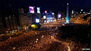 Aerial shot of protesters in Buenos Aires