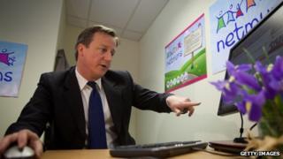 David Cameron at computer