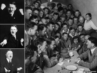 Montage of Adolf Hitler images - inc sitting amongst a band of National Socialist youth members all crowded into a small room