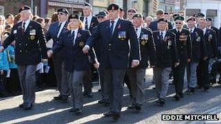 Remembrance Day parade in Worthing