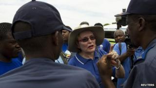 Helen Zille, leader of South Africa's opposition Democratic Alliance party, speaks to the media after police officials blocked her attempts to walk near President Jacob Zuma's home in Nkandla on 4 November 2012