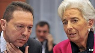 Greek Finance Minister Yannis Stournaras and International Monetary Fund Managing Director Christine Lagarde, Brussels, 12 Nov