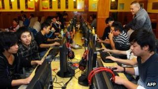 Internet users at a cafe in China