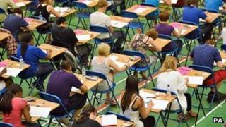 Pupils taking GCSE exam in 2010