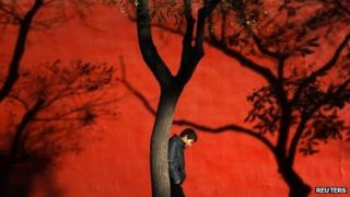 A man walks past trees at the Forbidden City in Beijing, 13 November 2012
