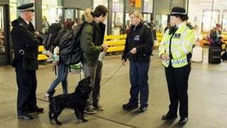 Police officers at Victoria coach station