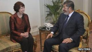 Catherine Ashton meets Mohammed Mursi in Cairo (14 November 2012)