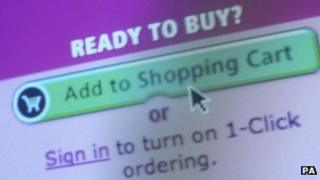 Internet shopping page on a computer