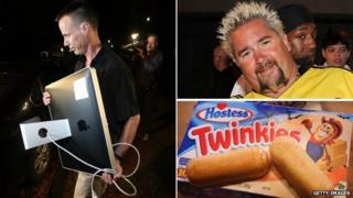An FBI agent removes a computer from Paula Broadwell's home (left), chef Guy Fieri (upper right), a box of Twinkies (bottom right)