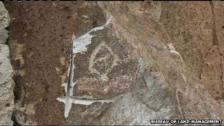 Damaged petroglyph in California