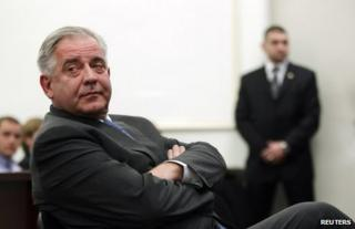 Former Croatian Prime Minister Ivo Sanader in court in Zagreb, 20 November