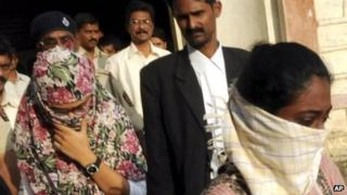 Shaheen Dhada, left, and Renu Srinivas, who were arrested for their Facebook posts, leave a court in Mumbai on Nov 20, 2012