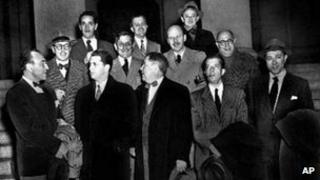 The so-called 'Hollywood 10', with their lawyers, in January 1948