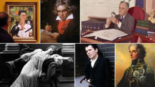 Clockwise from top left: artist Frida Kahlo, composer Ludwig van Beethoven, US president Franklin Delano Roosevelt, naval commander Horatio Nelson, singer Ian Dury and actress Sarah Bernhardt