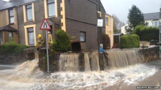 Flooding in the village of Rhostryfan, near Caernarfon
