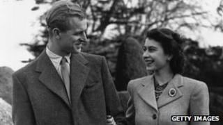 Prince Philip and Queen on honeymoon
