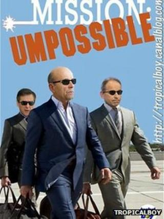 Mission UMPossible: A picture posted by blogger TropicalBoy mocks the UMP scandal - (left to right) Fillon, Juppe & Cope