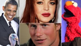 Barack Obama with pardoned turkey, Lindsay Lohan, Elmo, Prince Harry