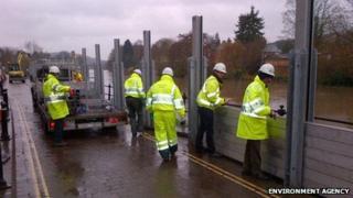 Flood barriers in Bewdley