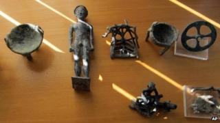 Recovered objects stolen from a museum in Olympia, Greece in February (24 Nov)
