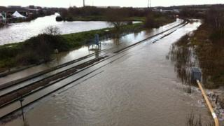 Tracks close to Rotherham Central railway station which became flooded