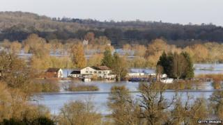 Floodwaters in the Tewkesbury area of Gloucestershire