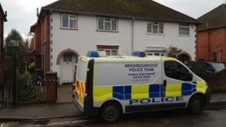 Police van outside address in Berkeley Road, Newbury