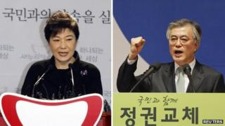 Composite image showing Park Geun-hye (L) and Moon Jae-in (R)