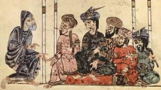 Painting showing a gathering in medieval Iraq