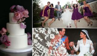 Sugar plum cake, William and Catherine and Muriel Tepik-Thibault with bridesmaids (credits: Getty, Florence Jamart)
