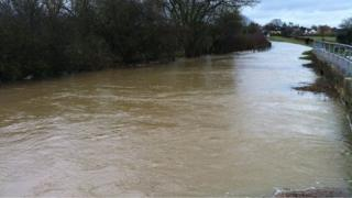 Road flooded between Harrold and Carlton in Bedfordshire