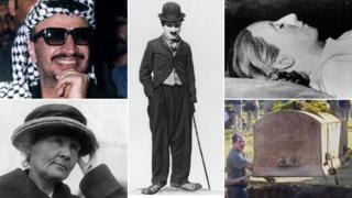 A composite image showing (in clockwise order) Yasser Arafat, Charlie Chaplin, the embalmed body of Eva Peron, the exhumation in 2000 of a man who said he was Jesse James, and Marie Curie. Images AP and Getty