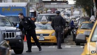 Police officers in New York on 2 November 2012