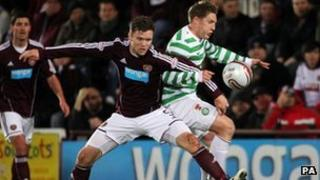Celtic's Kris Commons and Hearts Darren Barr