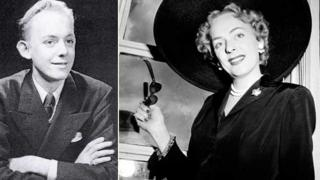A composite image showing Christine Jorgensen as a man before her operation (l) and as a woman after (r)