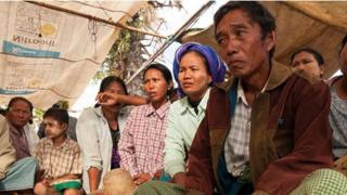 Farmers protesting outside the main entrance to the Wanbao mine camp in Monywa, Burma, November 2012